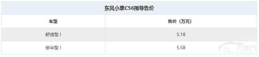 售5.18万元起 东风小康C56正式上市