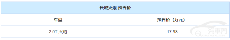 预售17.98万 长城火炮正式开启预售